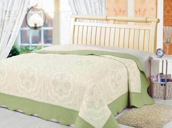 """Стеганое покрывало на кровать Patchwork Lux Cotton """"Фисташковое барокко"""""""
