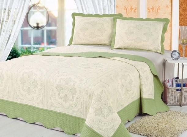 """Стеганое покрывало на кровать с наволочками Patchwork Lux Cotton """"Фисташковое барокко"""""""