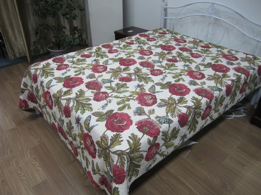 """Стеганое покрывало на кровать Patchwork Lux Cotton """"Маки"""""""
