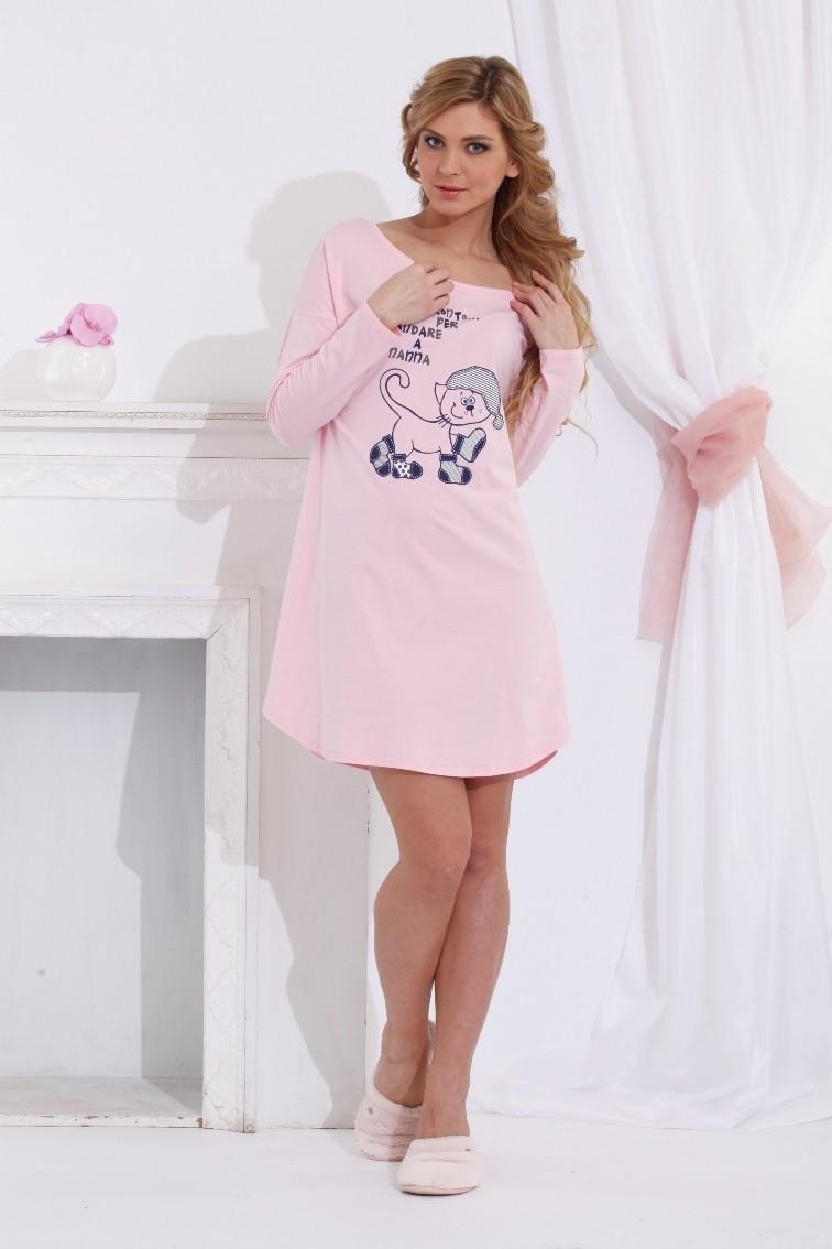 """Женская туника, ночная сорочка """"Pronto 1424, розовая"""""""