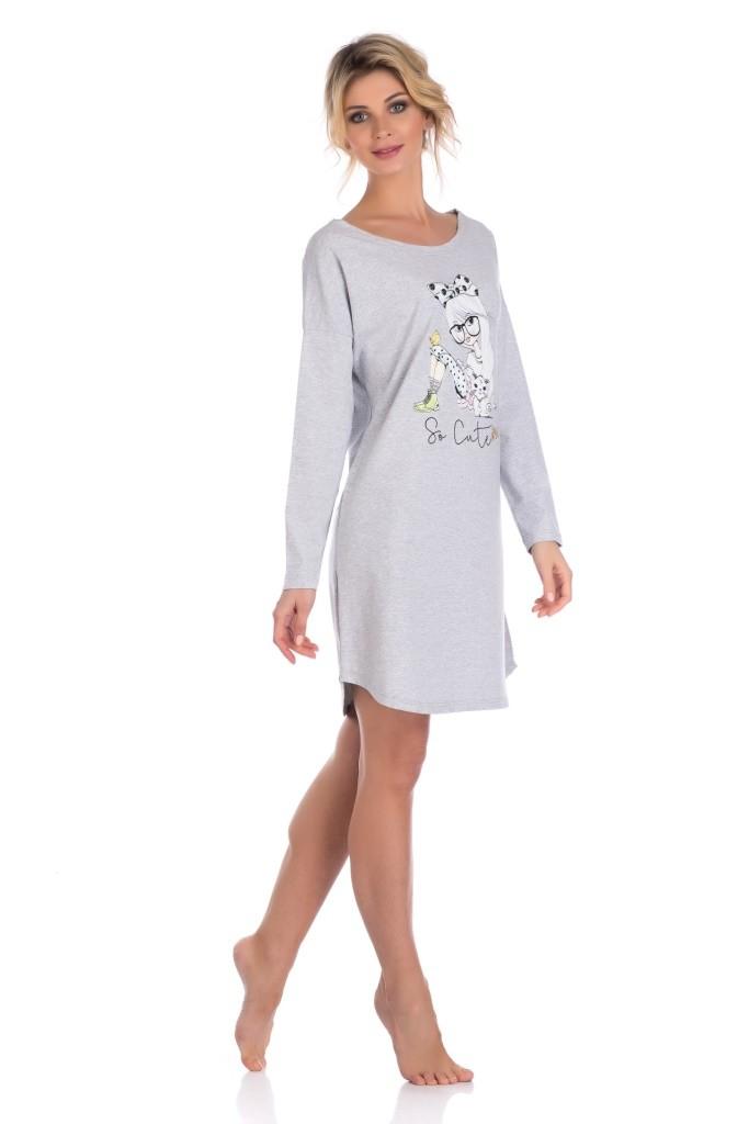 """Женская туника, ночная сорочка """"Lucky girl 1424, серая"""""""