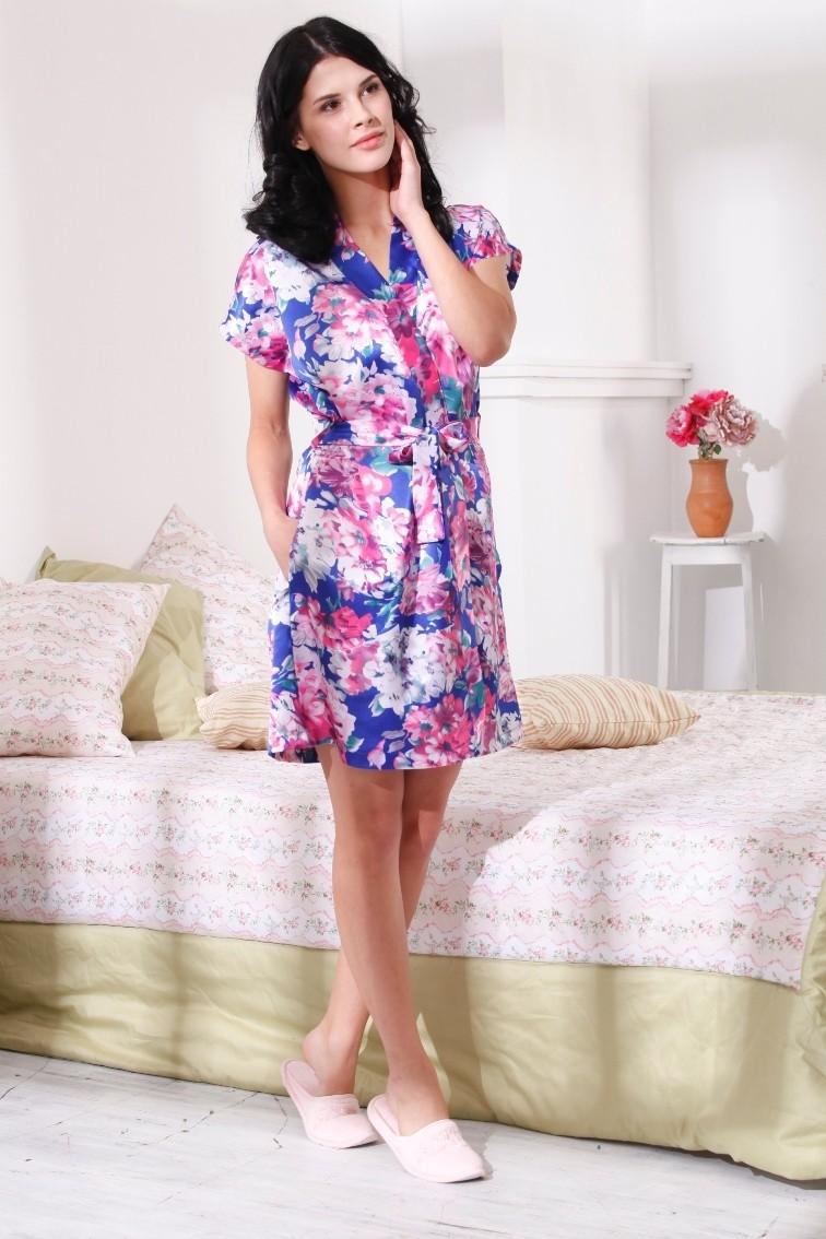 """Женский облегченный короткий халат """"Е 101, Цветы сакуры"""""""
