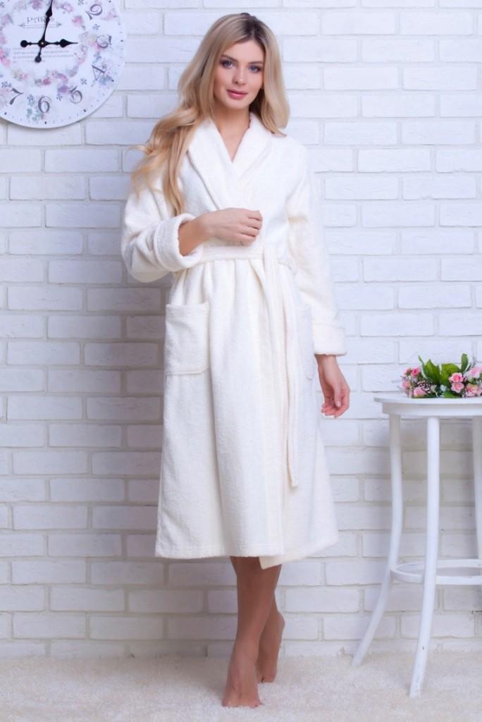"""Женский махровый халат """"В 701, Cream"""", кремовый"""