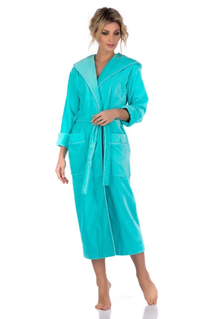"""Стильный женский халат с капюшоном Pechea Monnaie """"Une Beaute 728, menthol"""""""