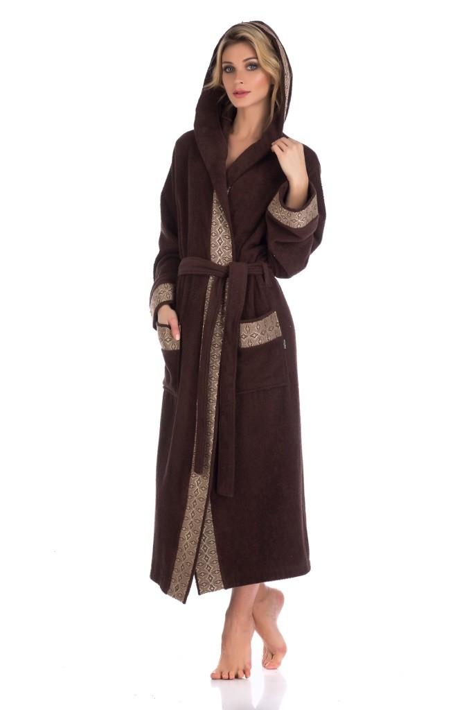 """Махровый длинный халат с капюшоном Pechea Monnaie """"La Reine 914, шоколад"""""""