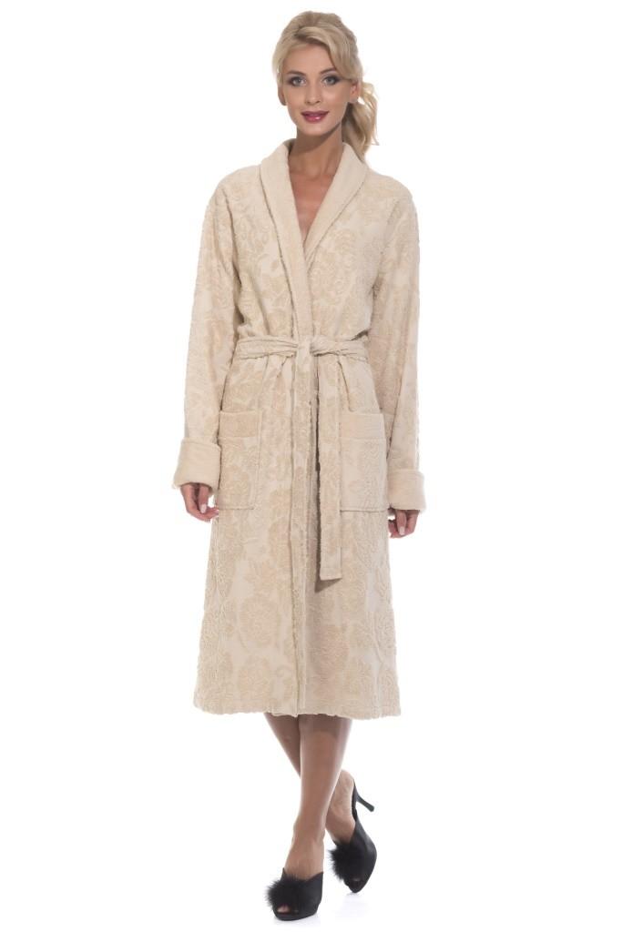 """Женский халат из облегченной махровой ткани """"Casharel 731, бежевый"""""""