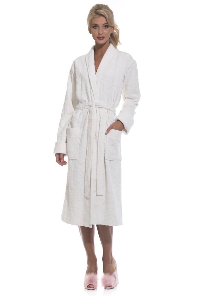 """Женский халат из облегченной махровой ткани """"Casharel 731, кремовый"""""""