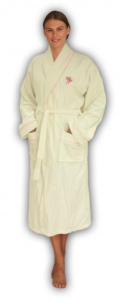 Женский махровый халат ROSA Cream, кремовый