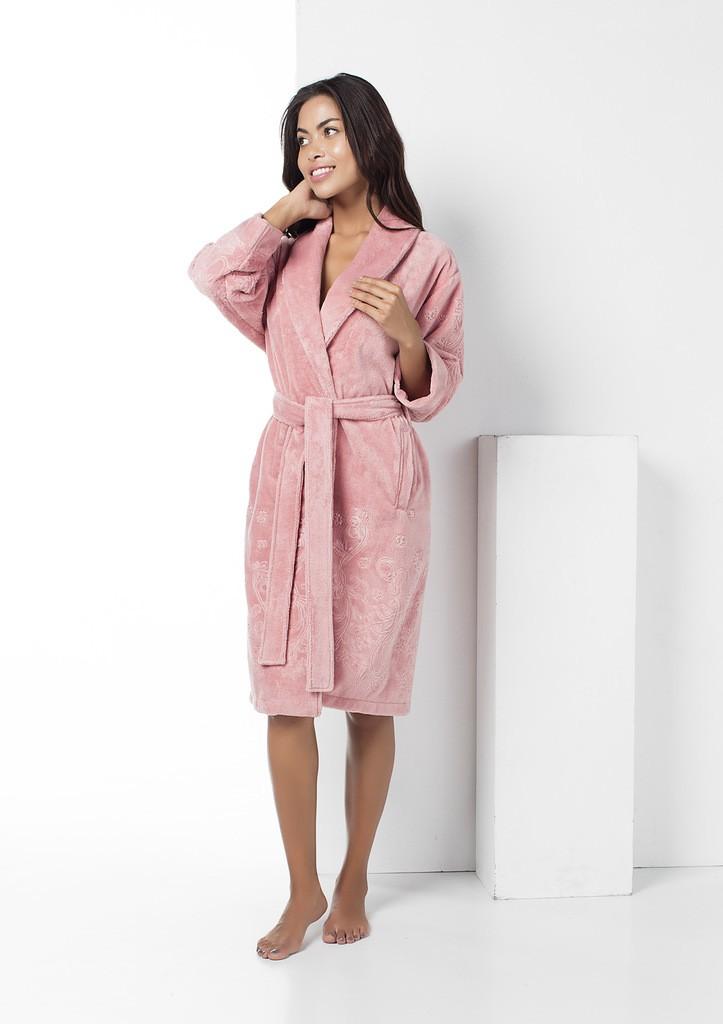 Женский укороченный халат Nusa NS-8515, пудра