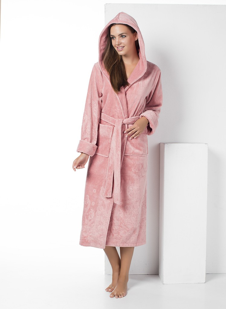 Женский халат с капюшоном Nusa NS-8510, пудра