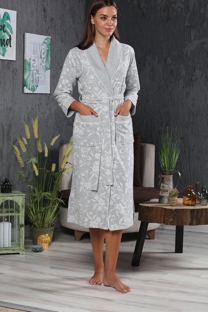 Халат женский облегченный Lacoste Nusa NS-0339, серый