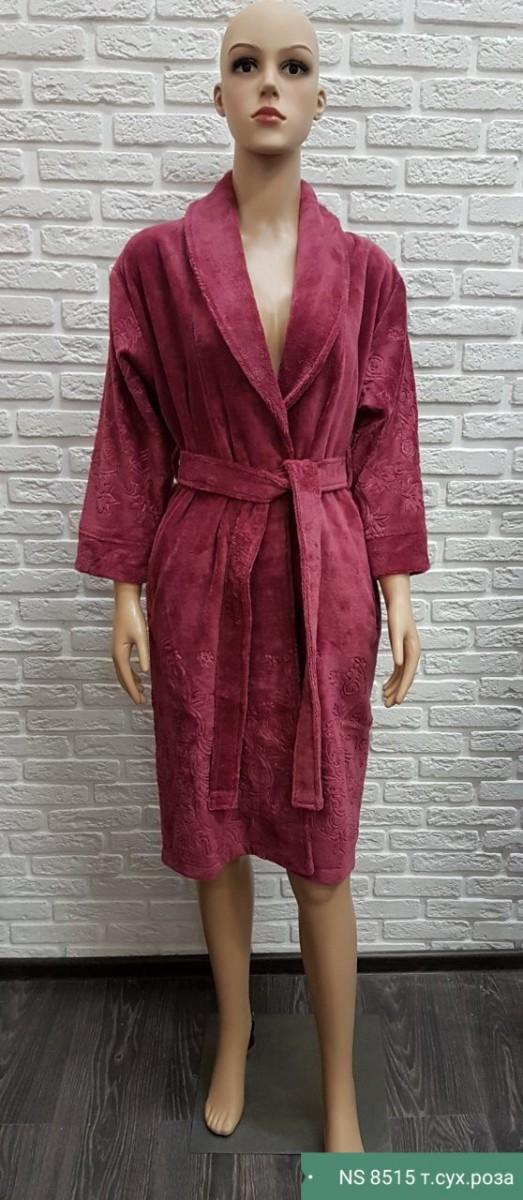 Женский укороченный халат Nusa NS-8515, Сухая роза