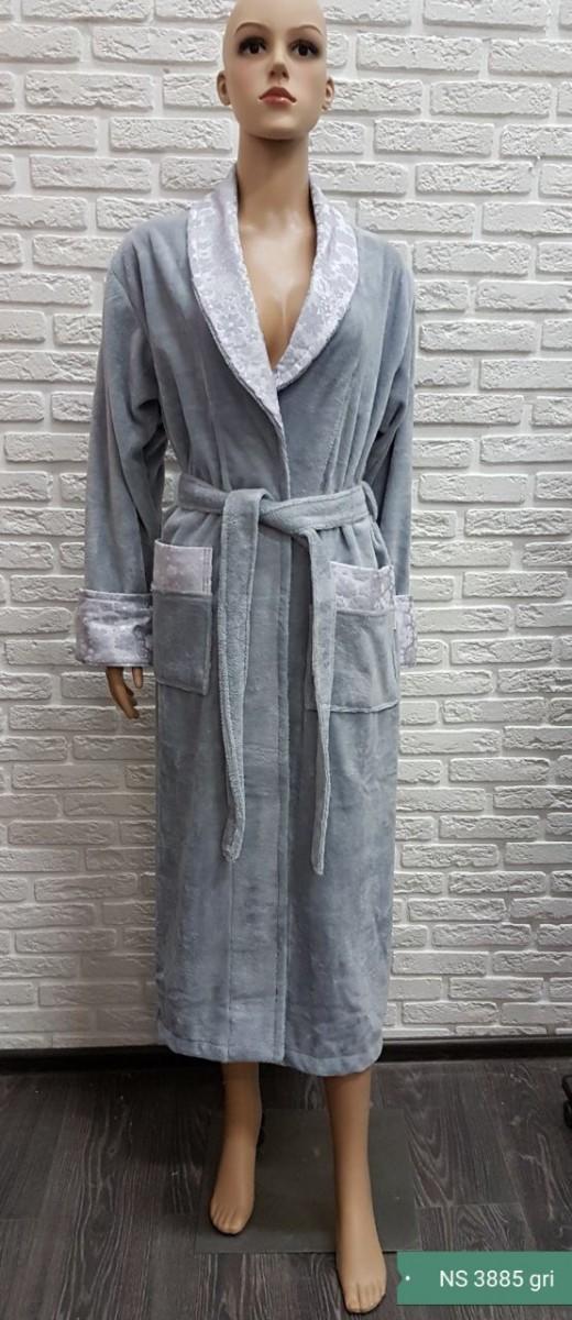 Женский бамбуковый халат Nusa NS-3885, серый