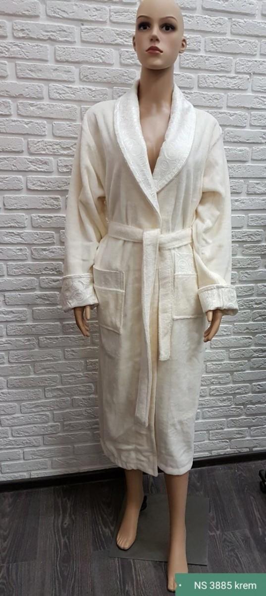 Женский бамбуковый халат Nusa NS-3885, кремовый