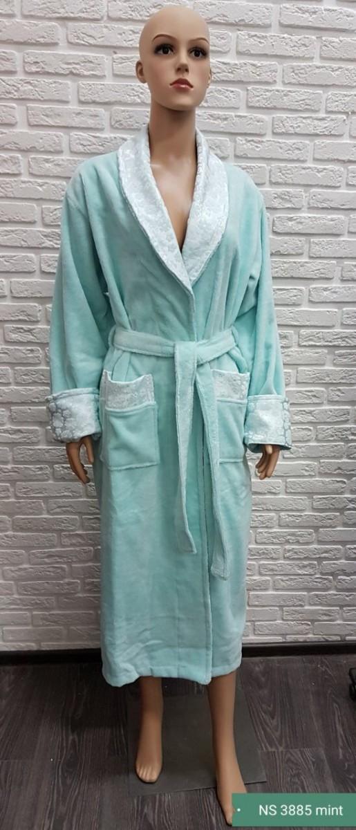 Женский бамбуковый халат Nusa NS-3885, ментол