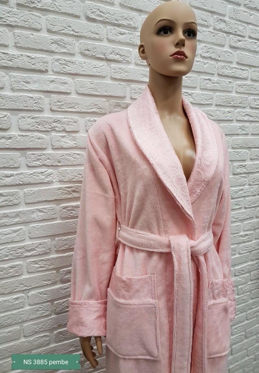 Женский бамбуковый халат Nusa NS-3885, розовый