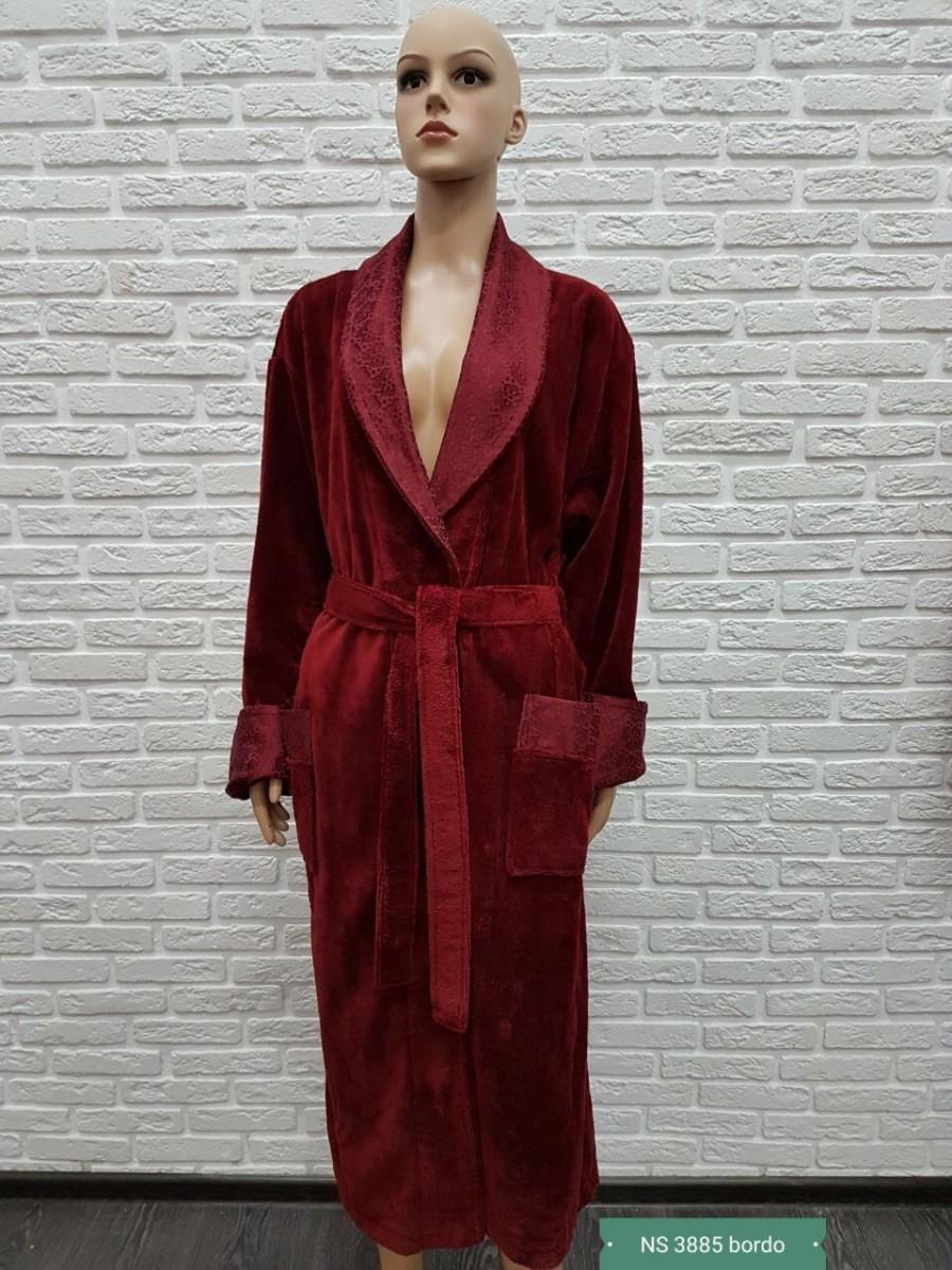 Женский бамбуковый халат Nusa NS-3885, бордовый