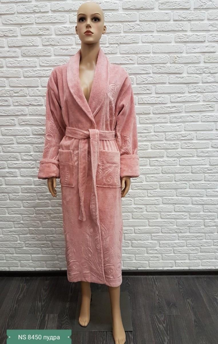 Женский бамбуковый халат Nusa NS-8450, пудра