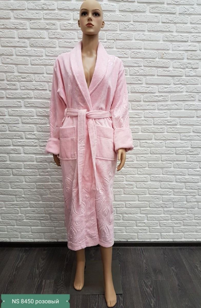 Женский бамбуковый халат Nusa NS-8450, розовый