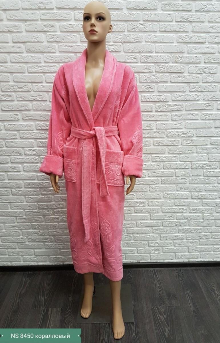 Женский бамбуковый халат Nusa NS-8450, тёмно-розовый
