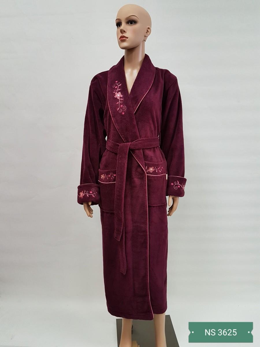 Женский бамбуковый халат Nusa NS-3625, бордовый