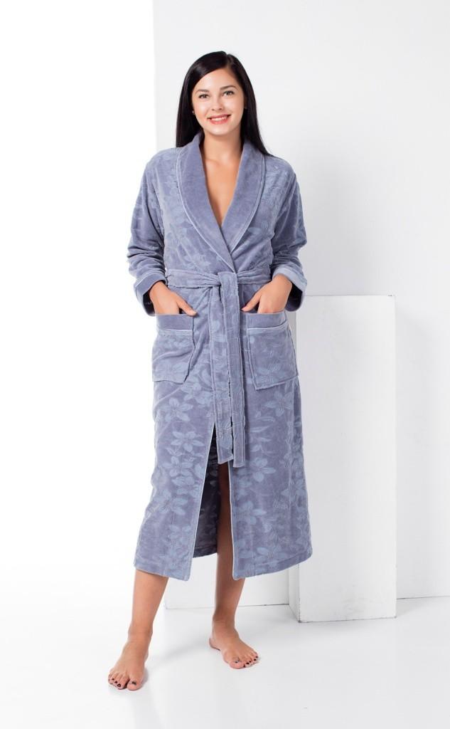 Женский лёгкий бамбуковый халат Nusa NS-0295, серый
