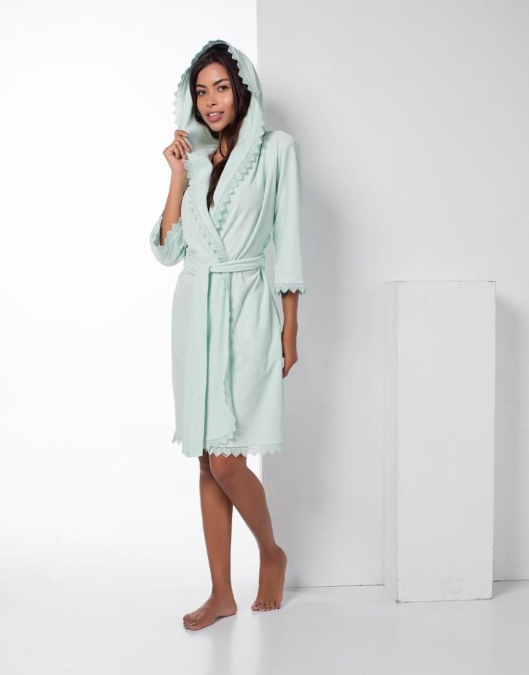 Женский короткий облегченный халат с капюшоном Lacoste Nusa NS-17029, ментол