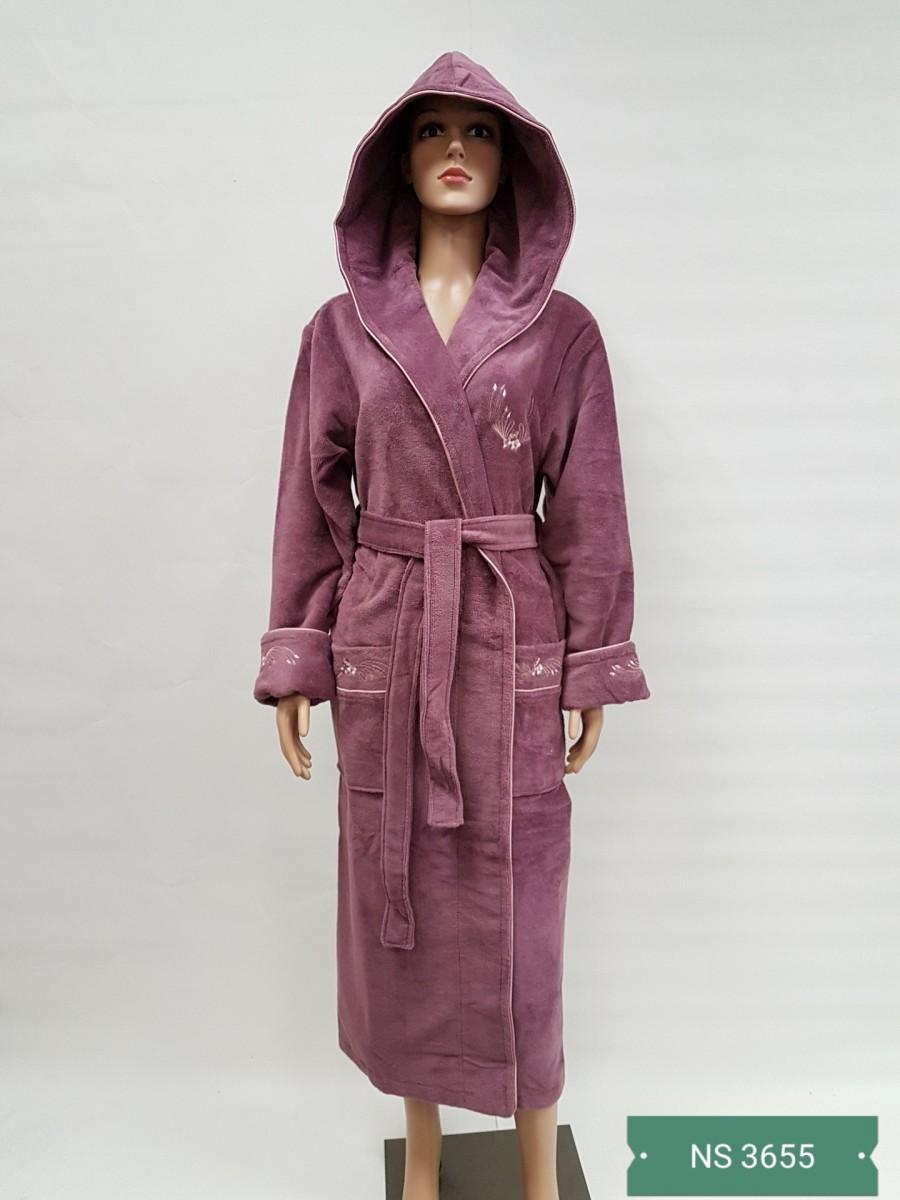 Женский халат с капюшоном Nusa NS-3655, лиловый