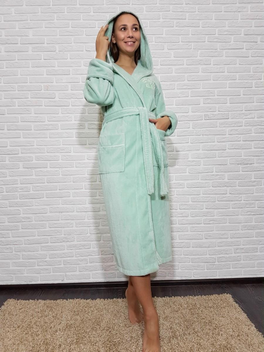 Женский халат с капюшоном Nusa NS-3845, св. зеленый