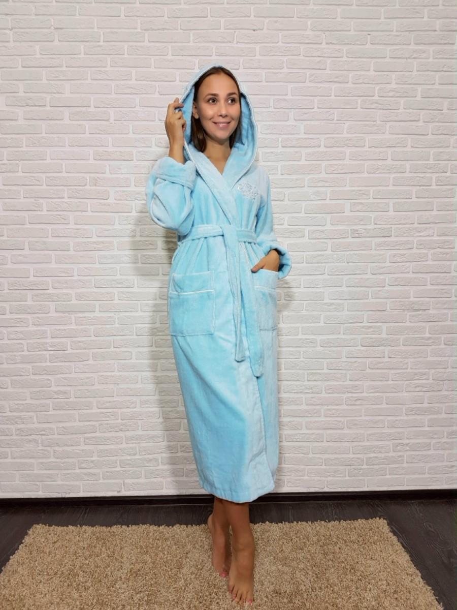 Женский халат с капюшоном Nusa NS-3845, голубой