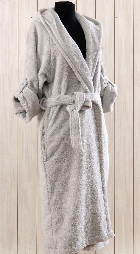 """Женский махровый халат с капюшоном Irya """"CLASSY Gri, серый"""""""